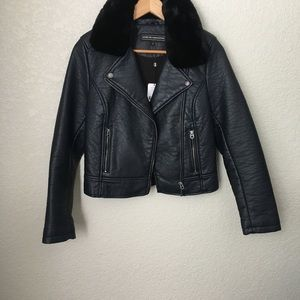 Members Only Dark Navy Faux Leather Jacket